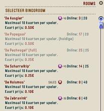 de verschillende bingokamers