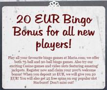 bonus om mee te beginnen bij maria bingo